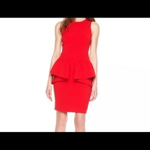 MICHAEL MICHAEL KORS Red Sleeveless Peplum Dress.